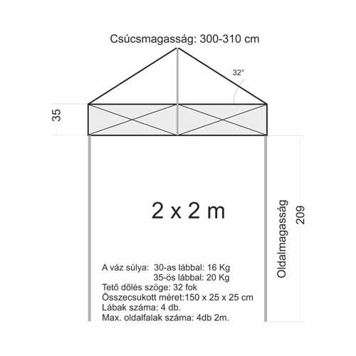 2x2 Sátor váz (35x35mm-es lábbal)