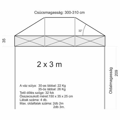 2x3 Sátor váz (30x30mm-es lábbal)