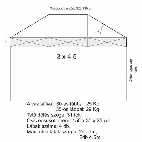3x4,5 Sátor váz (30x30 mm-es lábbal)