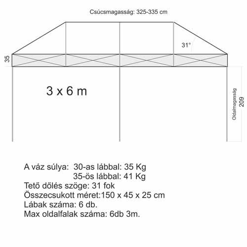 3x6 Sátor váz (35x35mm-es lábbal)