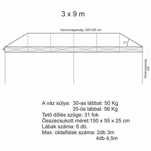 3x9 Sátor váz (6db 35x35 mm-es lábbal)