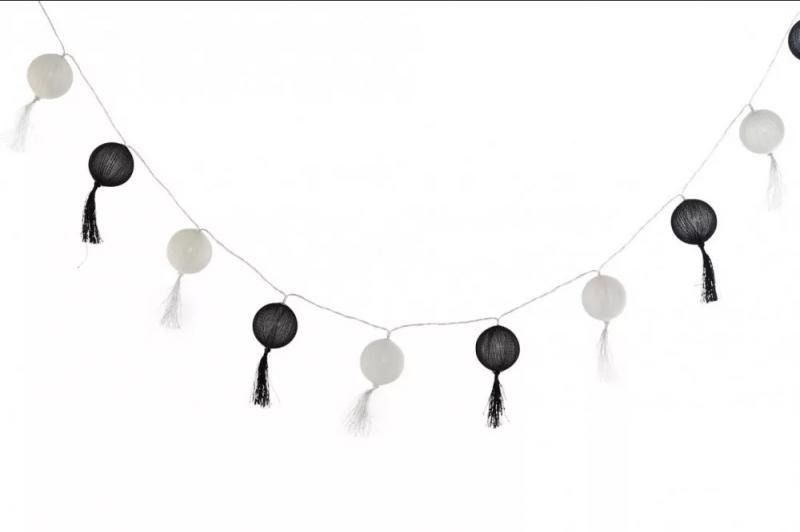 Fényfüzér gömb fekete-fehér 10 LED