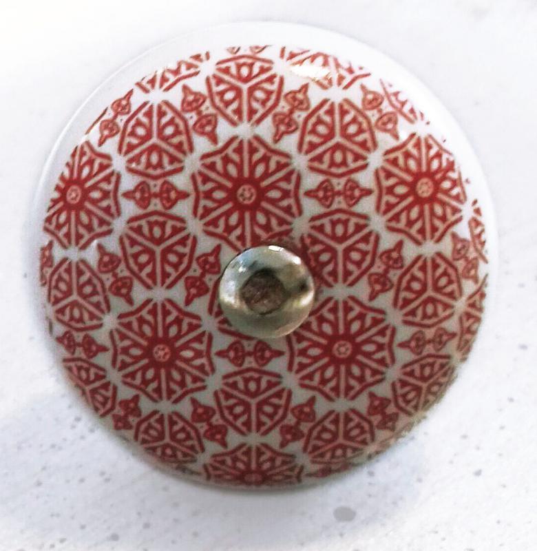 Fiókgomb mandala piros 1.