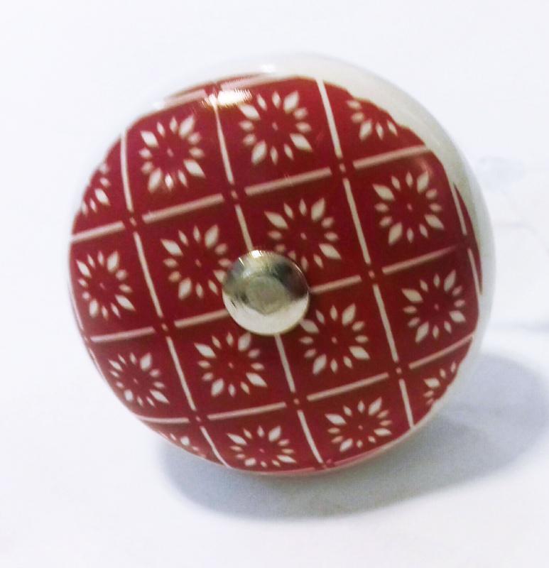 Fiókgomb mandala piros 2.