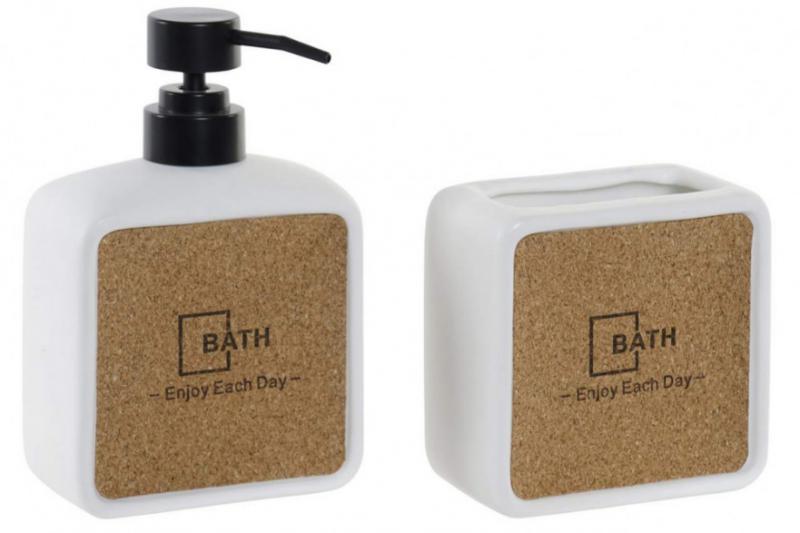 Fürdőszobai szett kerámia-parafa