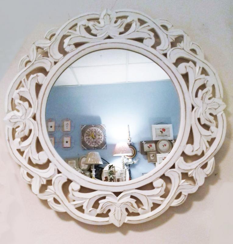 Tükör fehér faragott Ø60 cm