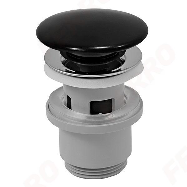 Click-clack lefolyószelep porcelán mosdóhoz 5/4-es fekete kerámia dugóval