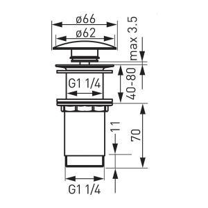 Click-clack magasított lefolyószelep ráépíthető mosdókhoz S285-WBP