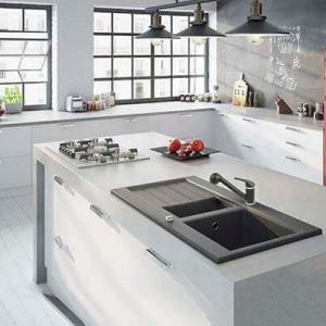 Ferro gránit konyhai mosogató csaptelep kihúzhatós zuhanyfejjel antracit