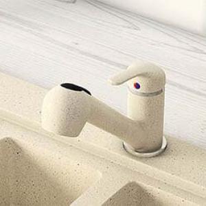 Ferro gránit mosogató csaptelep kihúzhatós zuhanyfejjel homok