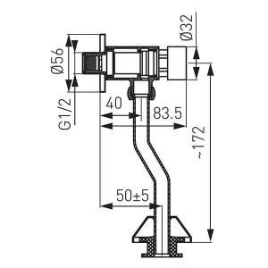Presstige önelzáró piszoár öblítőszelep szabályozható átfolyásidőzítővel