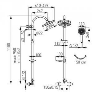 Trinitty zuhanyredszer Fejzuhany kézizuhany és Termosztatikus csaptelep NP71-TRM7U