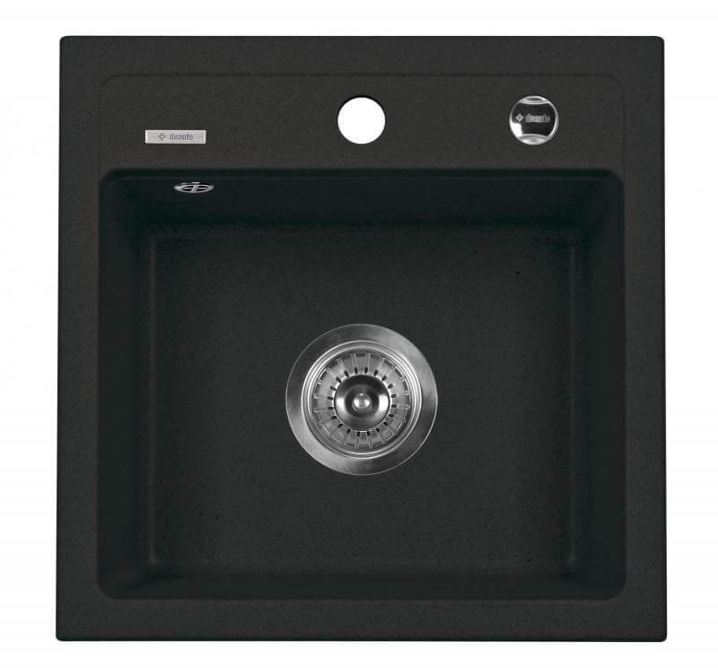 Gránit mosogató Zorba 1 medencés szögletes fekete