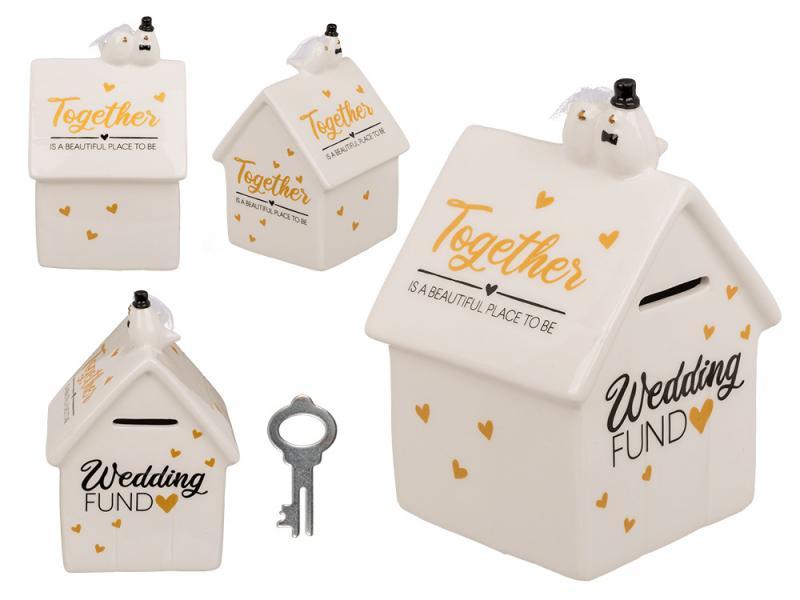 esküvői persely ház forma