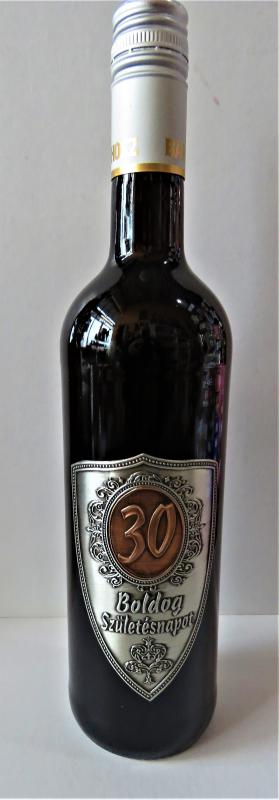 fém címkés bor 30.születésnapra