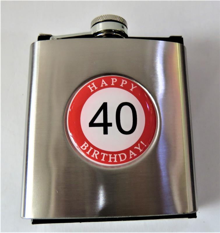 fém laposüveg, flaka hb. 40. születésnapra