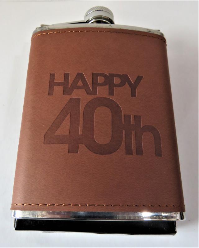 fém laposüveg, flaska 40. születésnapra barna