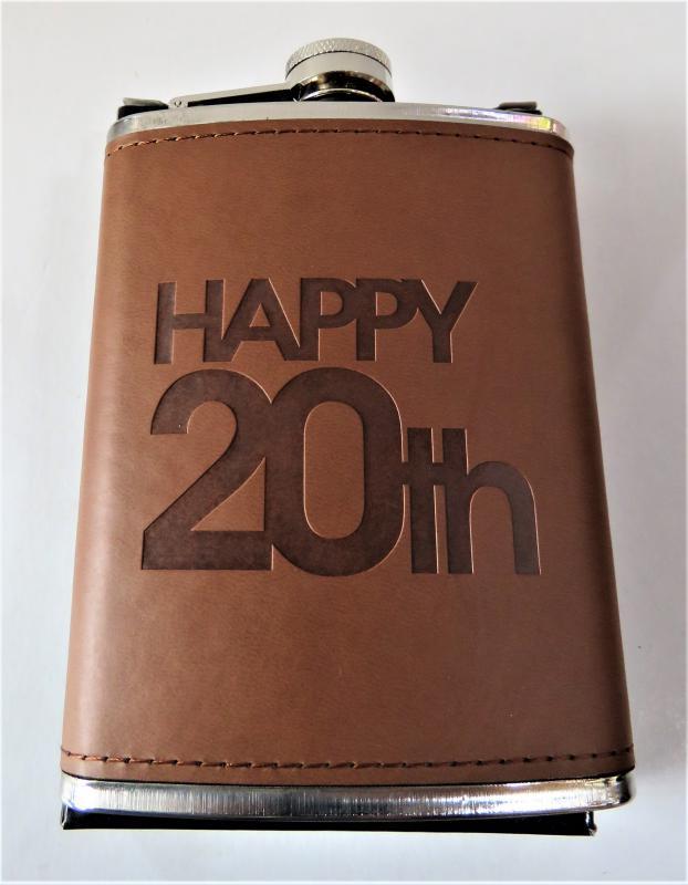fém laposüveg, flaska barna 20. születésnapra