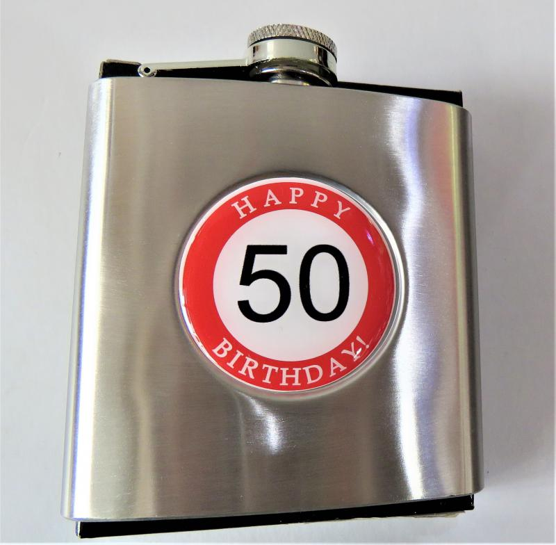 fém laposüveg, flaska hb 50. születésnapra