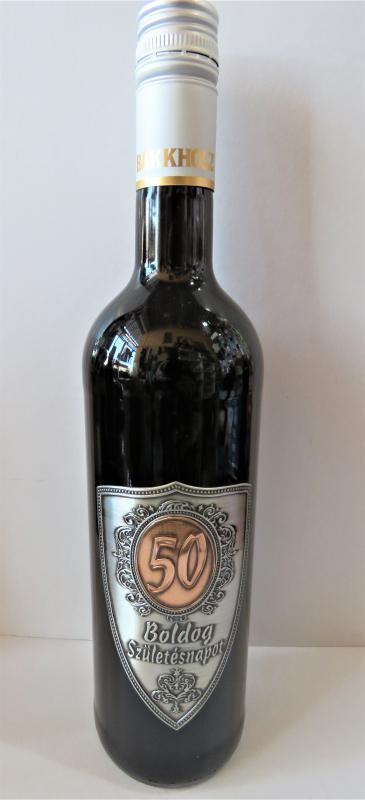 fémcímkés bor 50. születésnapra