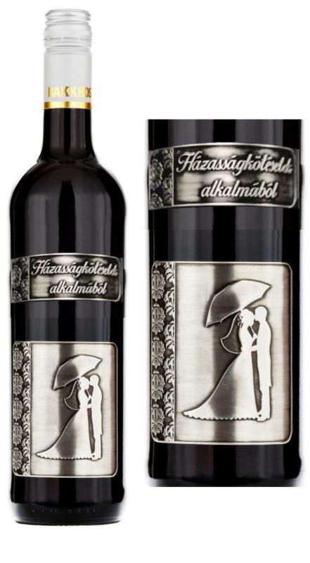 fémcímkés bor házassákötésetek alkalmából