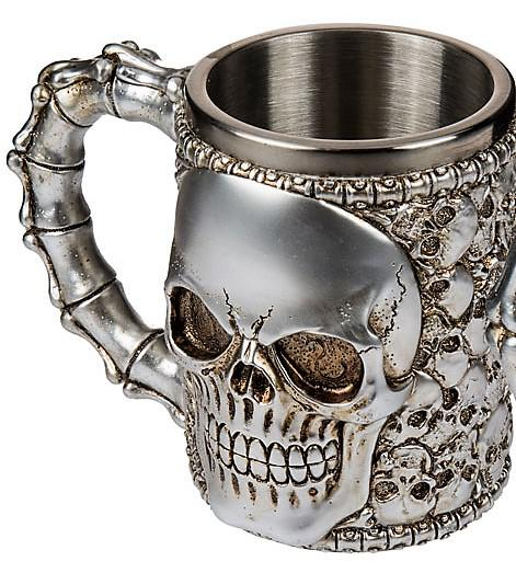 koponya bögre ezüst, koponyákkal