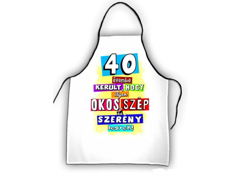 kötény 40. születésnapra színes
