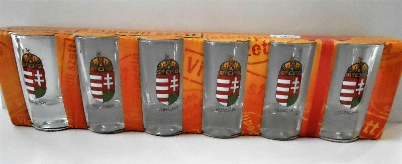 magyar címeres pálinkás pohár szett
