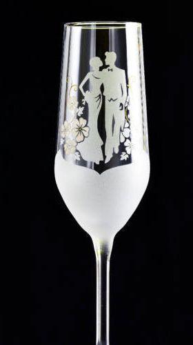 nászpár csiszolt pezsgőspohár