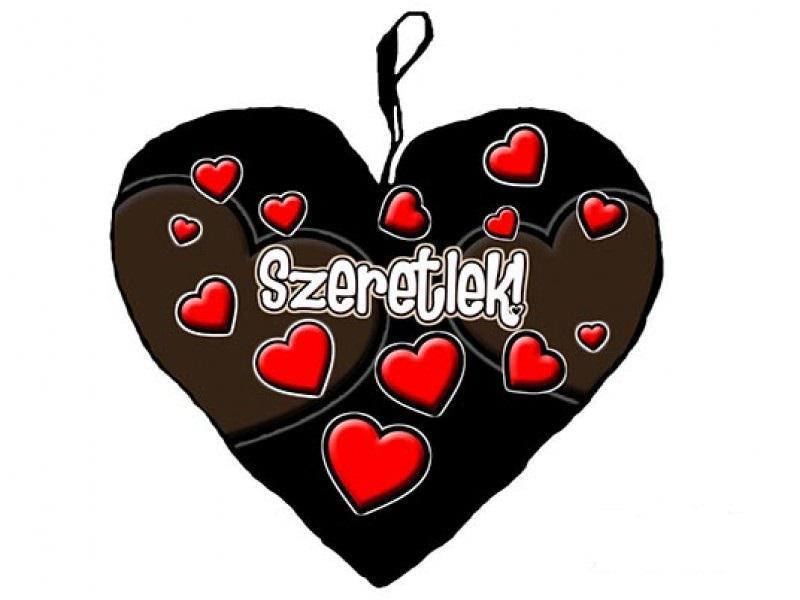 szerelmes szív párna fekete