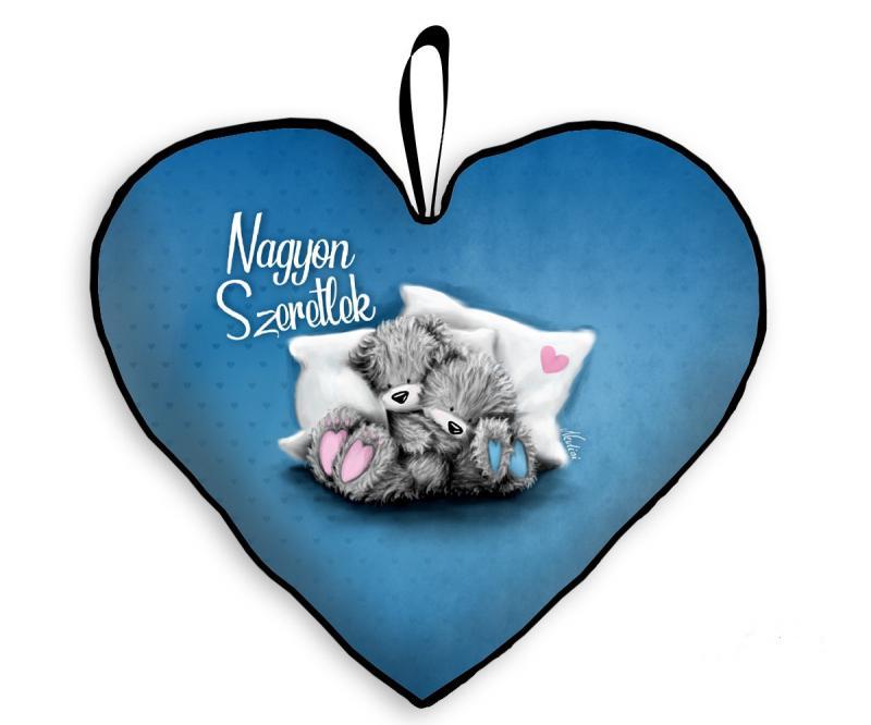 szerelmes szív párna macikkal kék