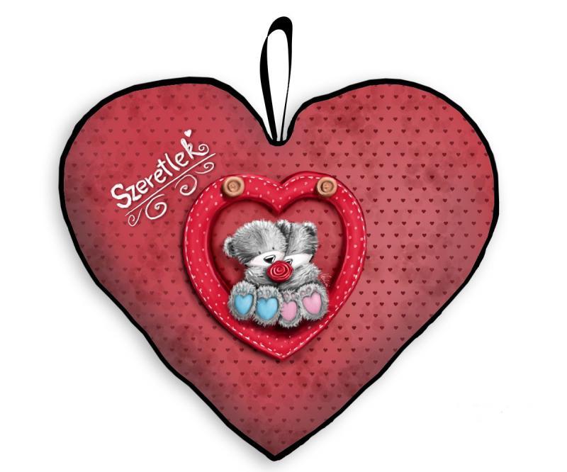 szerelmes szívpárna macikkal piros