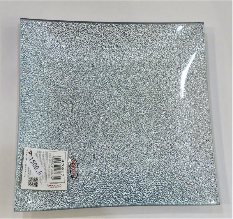 üvegtál ezüst négyzet L