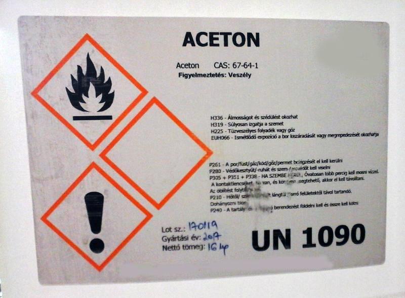 ACETON TECHNIKAI MINŐSÉG 5 literes kannában (4 kg).  Ár / liter