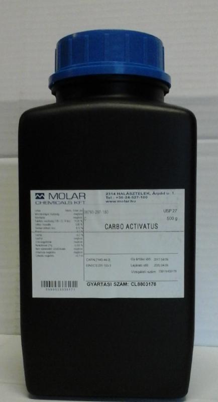 Aktívszén Növényi Gyógyszerkönyvi minőség USP 500 g