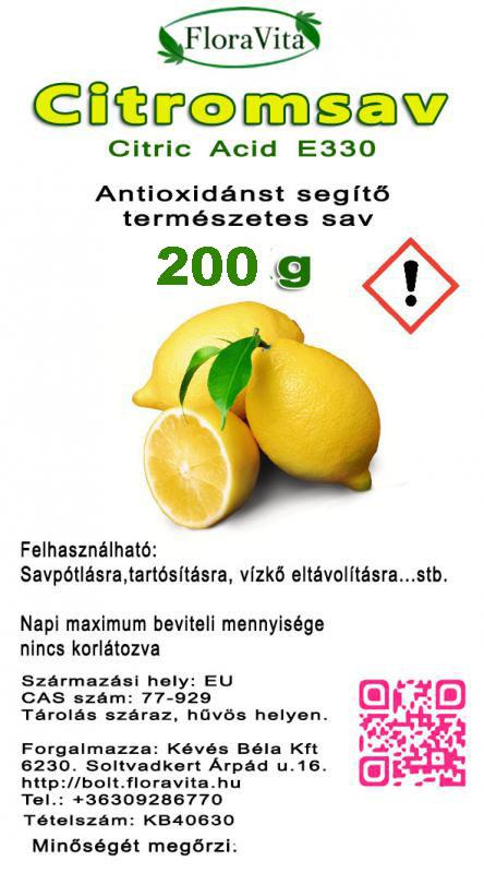 Citromsav étkezési minőség 200 g
