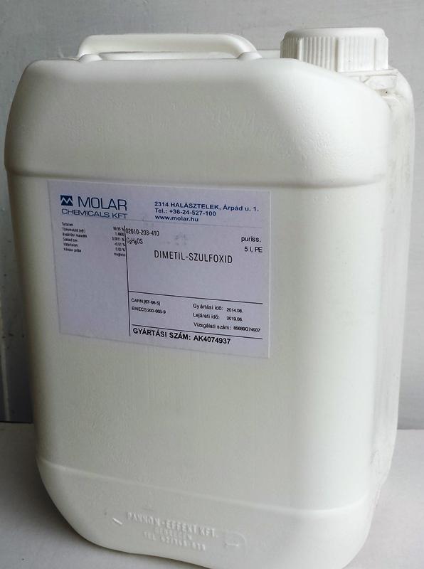 DMSO Dimetil-szulfoxid 5 literes kannában. Ár/liter