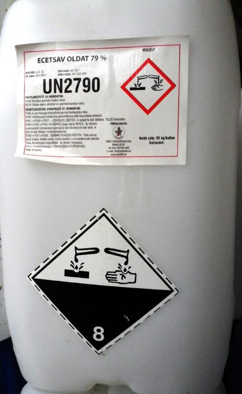 Ecetsav élelmiszeripari 80%-os 20 kg kannában (ár / 1kg)