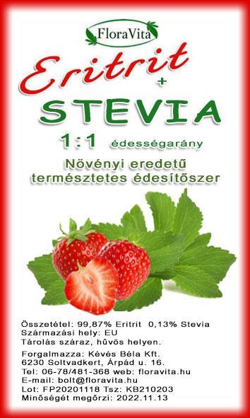 Eritrit + Stevia 1000 g 1:1 arányú  természetes édesítőhatás