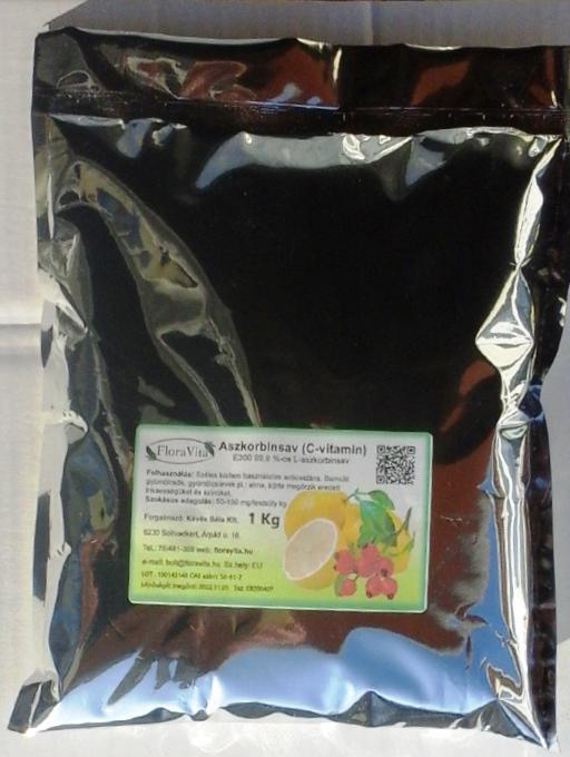 FloraVita C-vitamin L-aszkorbinsav 1 kg Gyógyszerkönyvi minőségű.