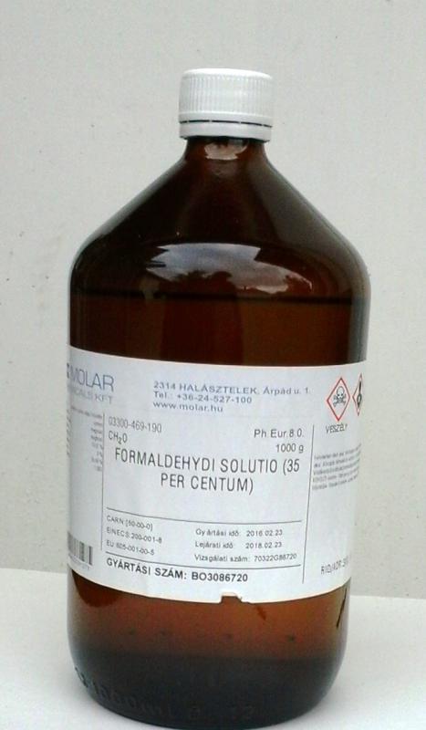 Formalin formaldehid oldat 35%-os 1000 ml gyógyszerkönyvi