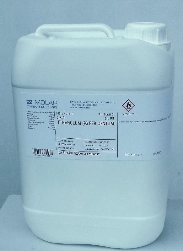 Gyógyszertári alkohol tiszta szesz gyógyszerkönyvi minőségü etanol 96 %-os 5000 ml (ár / 1 liter)