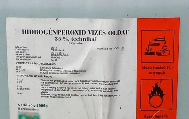 Hidrogén-peroxid 35 % technikai  1 kg