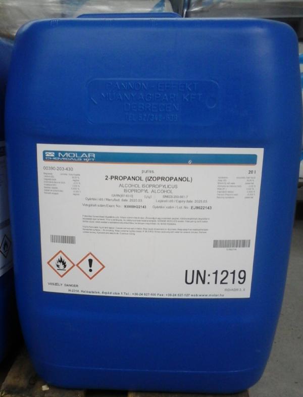 Izopropil alkohol 100%-os puriss minőség 20 l ár/1l