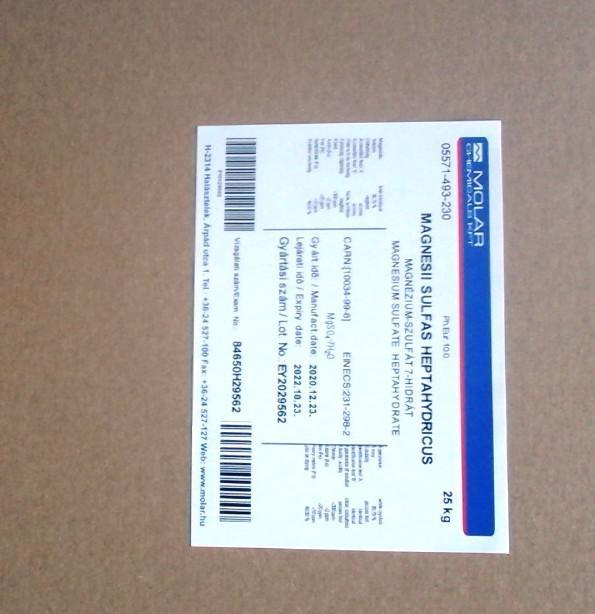 Keserűsó (Epsom só) 25 kg-os gyógyszerkönyvi magnézium-szulfát. ár/kg 99,95%-os Ph.Eur.7.0