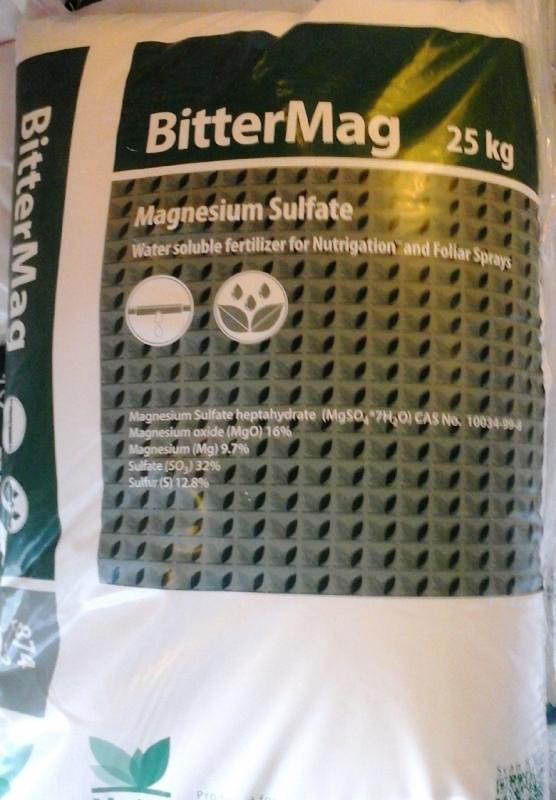 Keserűsó lombtrágya 25 Kg-os zsákban Magnézium-szulfát (MgO) tartalom 99,1%  ár/ 1kg
