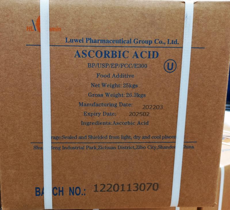 L-Aszkorbinsav C-vitamin 25 kg-os dobozban ömlesztve (ár / 1kg) Gyógyszerkönyvi