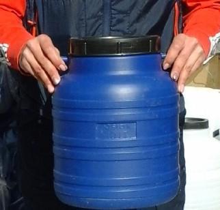 Műanyag hordó 10 l-es ballon kék színben