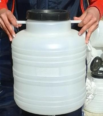 Műanyag hordó 10 l-es füles ballon csavaros tetővel (fehér)