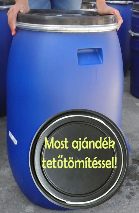 Műanyag hordó 120 l-es ballon kék színben bilincses